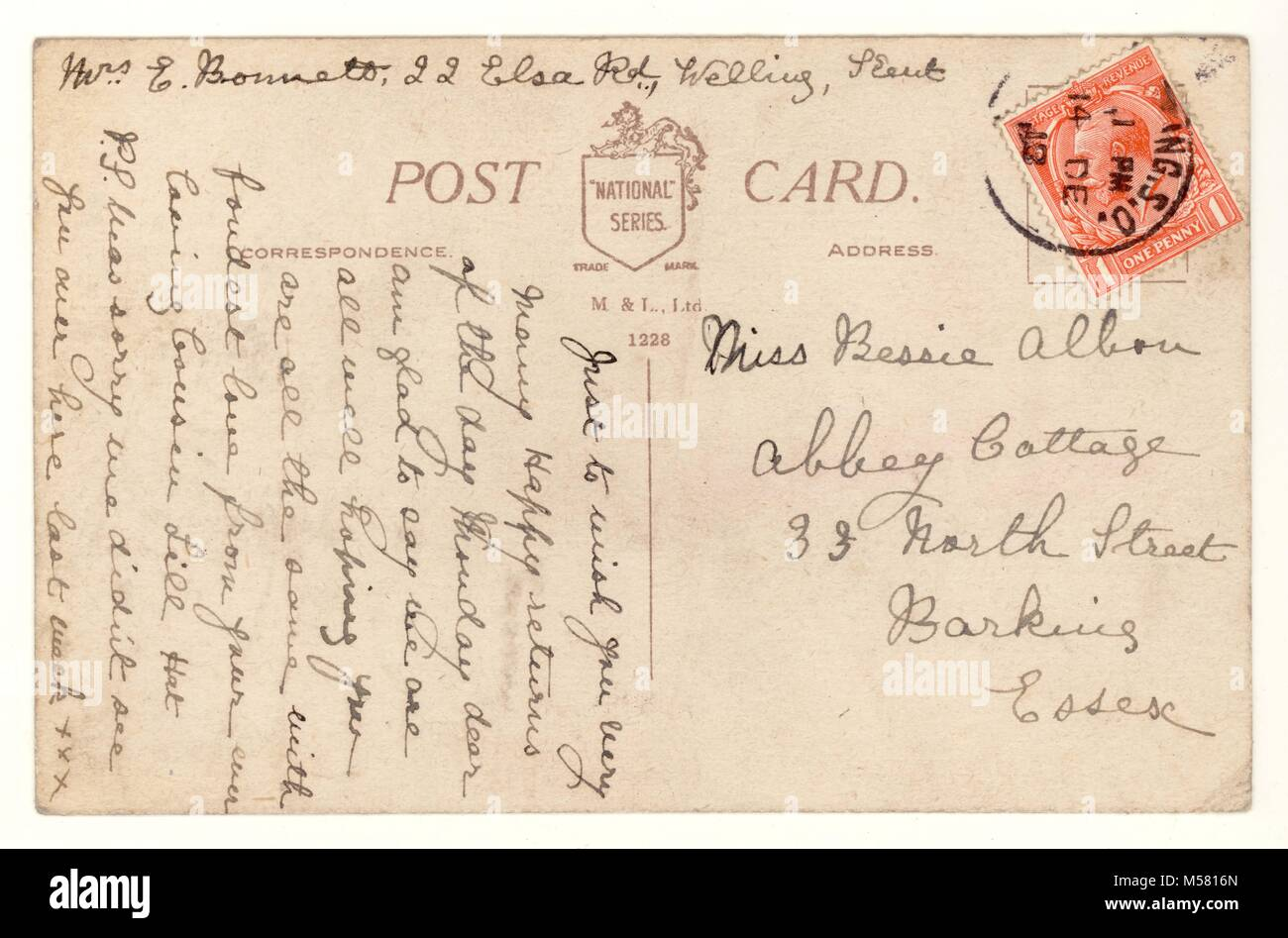 Reverse of WW1 era postcard .- posted 14 December 1918, Welling. U.K. - Stock Image