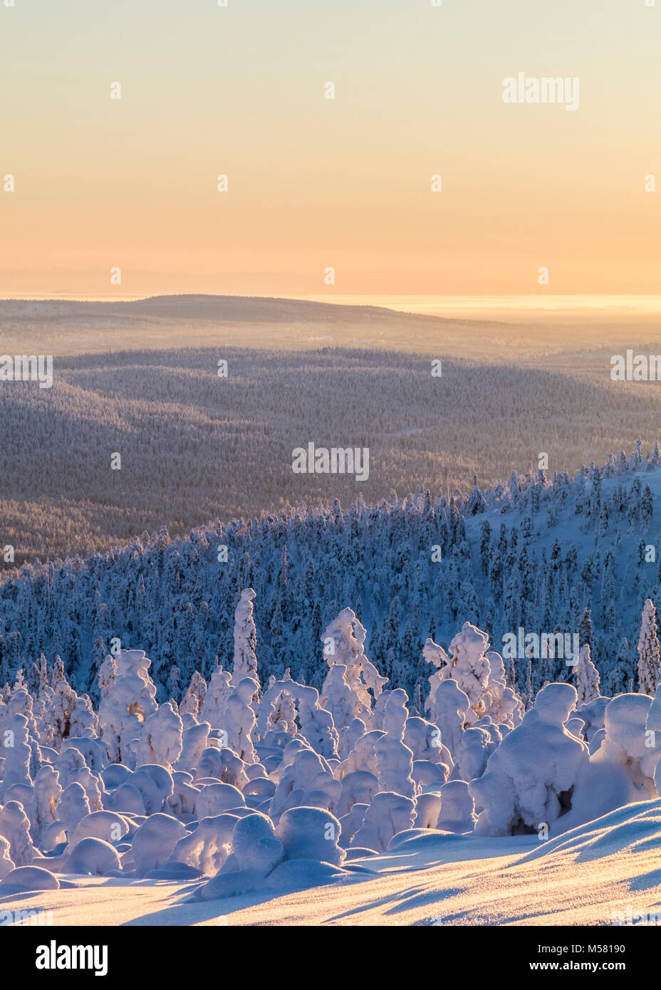 Snowy fells in Finland - Stock Image