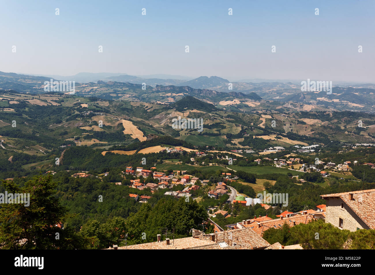 Landscape of San Marino and Italy viewed from the Piazza Liberta in San Marino city - Stock Image
