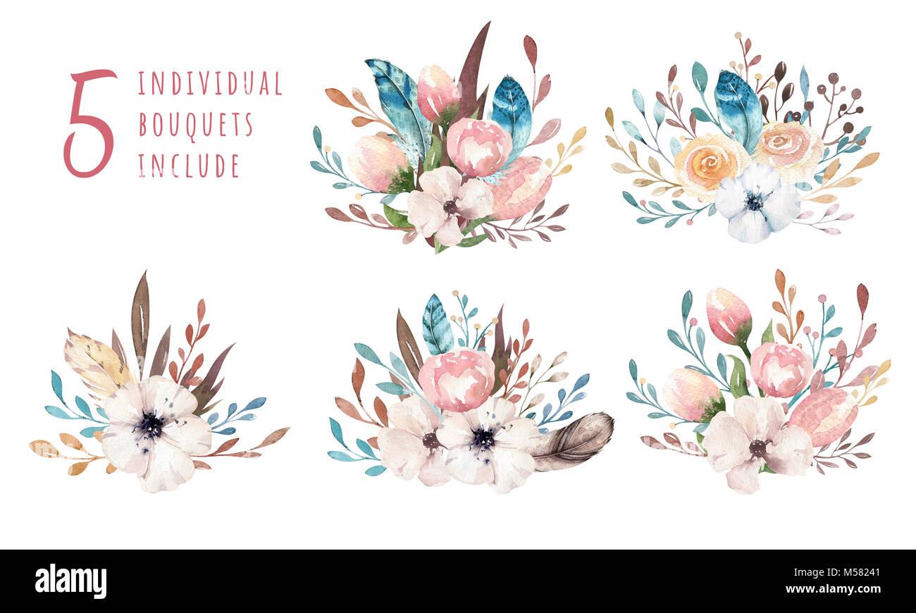 Watercolor boho floral illustration. Bohemian summer flower bouquets ...