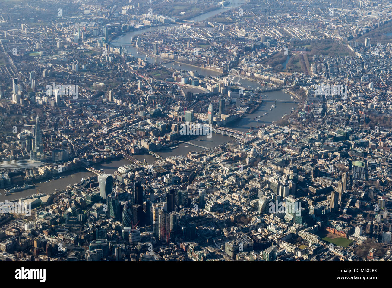 Aerial view of central London looking west along the Thames from the north. Stock Photo