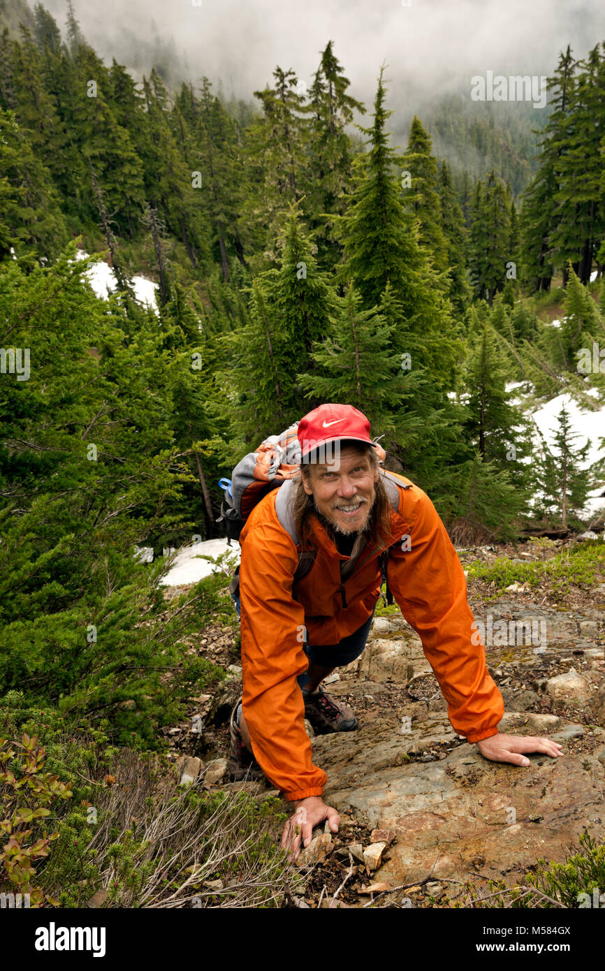 WA13504-00...WASHINGTON - Hiker on the scramble route up Mount Forgotten in the Mount Baker - Snoqualmie National - Stock Image