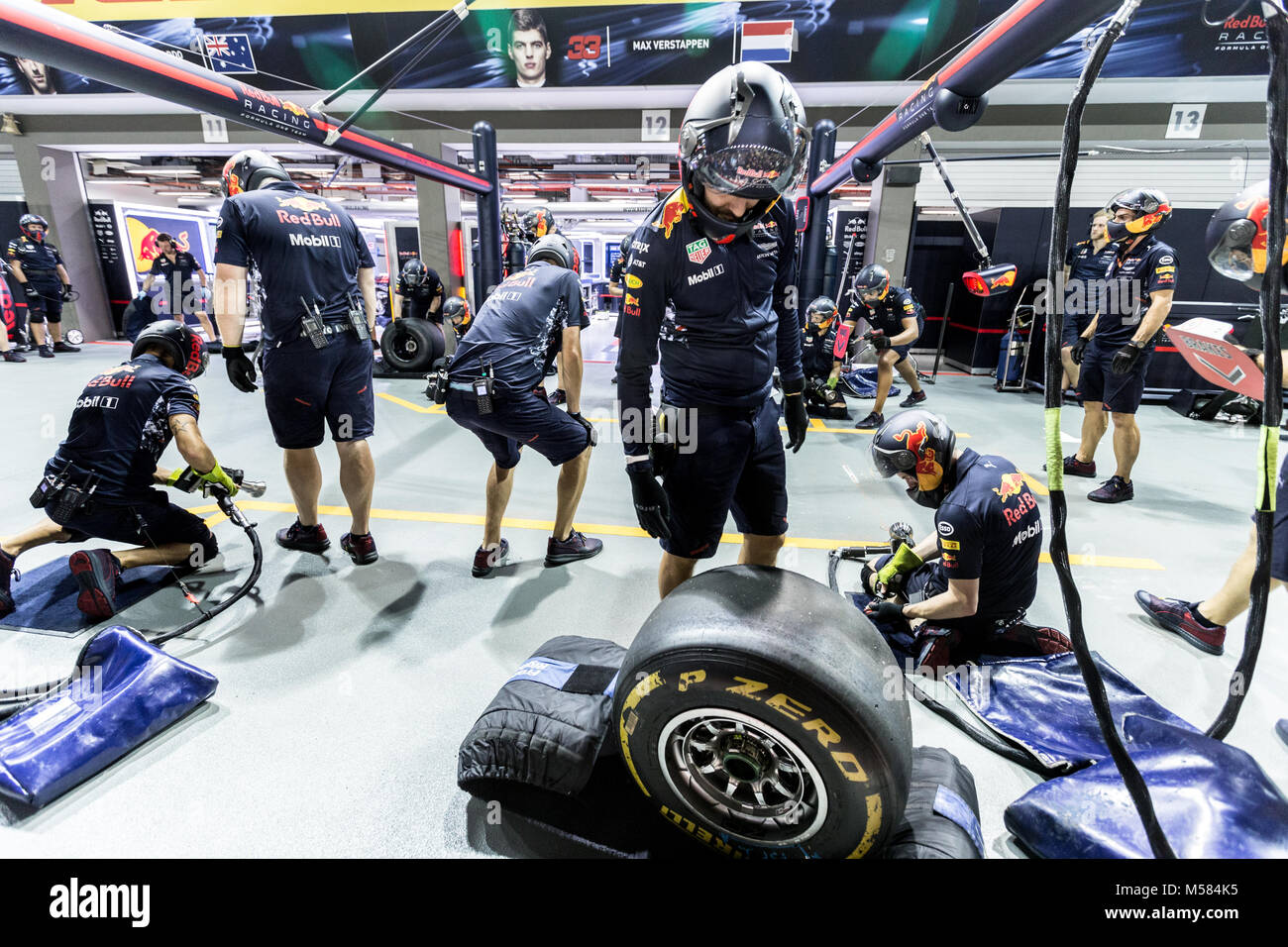 Formula One F1 Red Bull pit crew working on the garage during pit stop Stock Photo