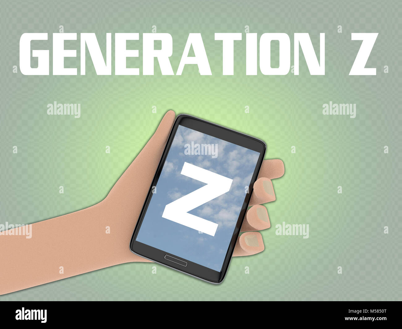3D illustration of Z script on the screen of a cellulr phone held by hand, isolated on pale green gradient, with - Stock Image