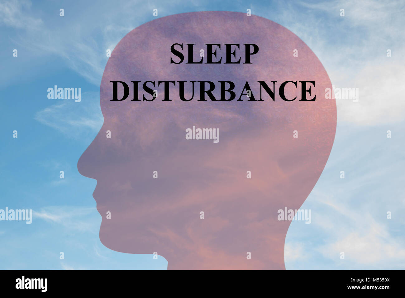 Render illustration of SLEEP DISTURBANCE title on head silhouette, with cloudy sky as a background. - Stock Image