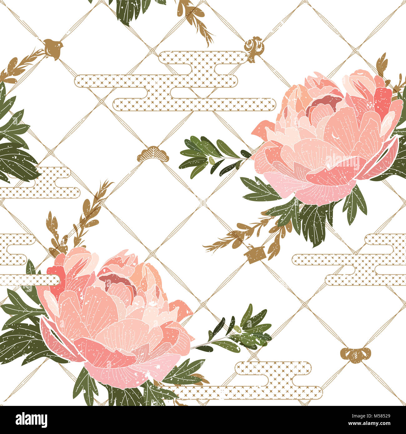 Floral Pattern Seamless With Japanese Background Vector Peony