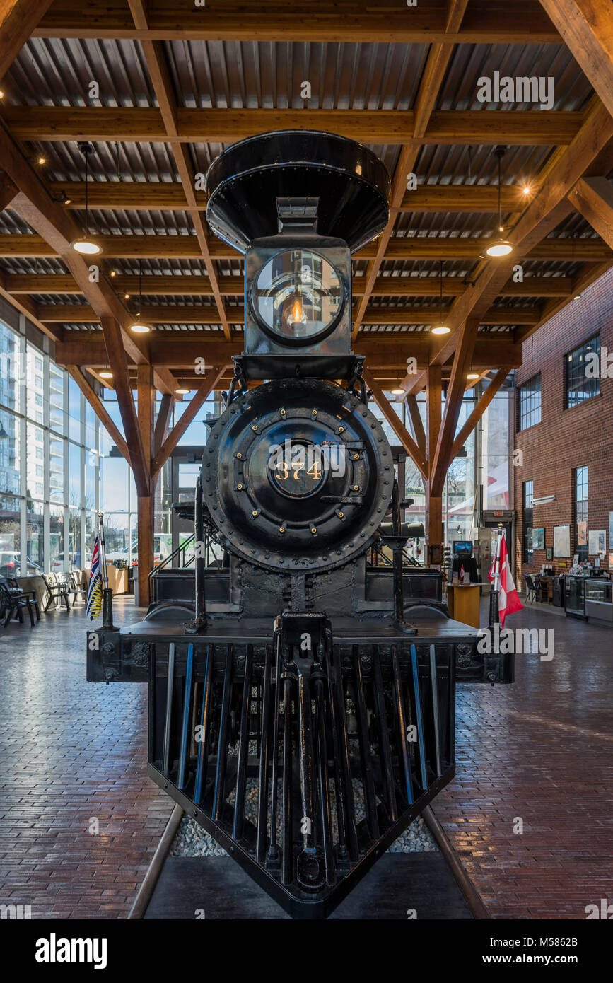 C.P.R Locomotive 374 on display in the Roundhouse, Yaletown, Vancouver, British Columbia, Canada. - Stock Image