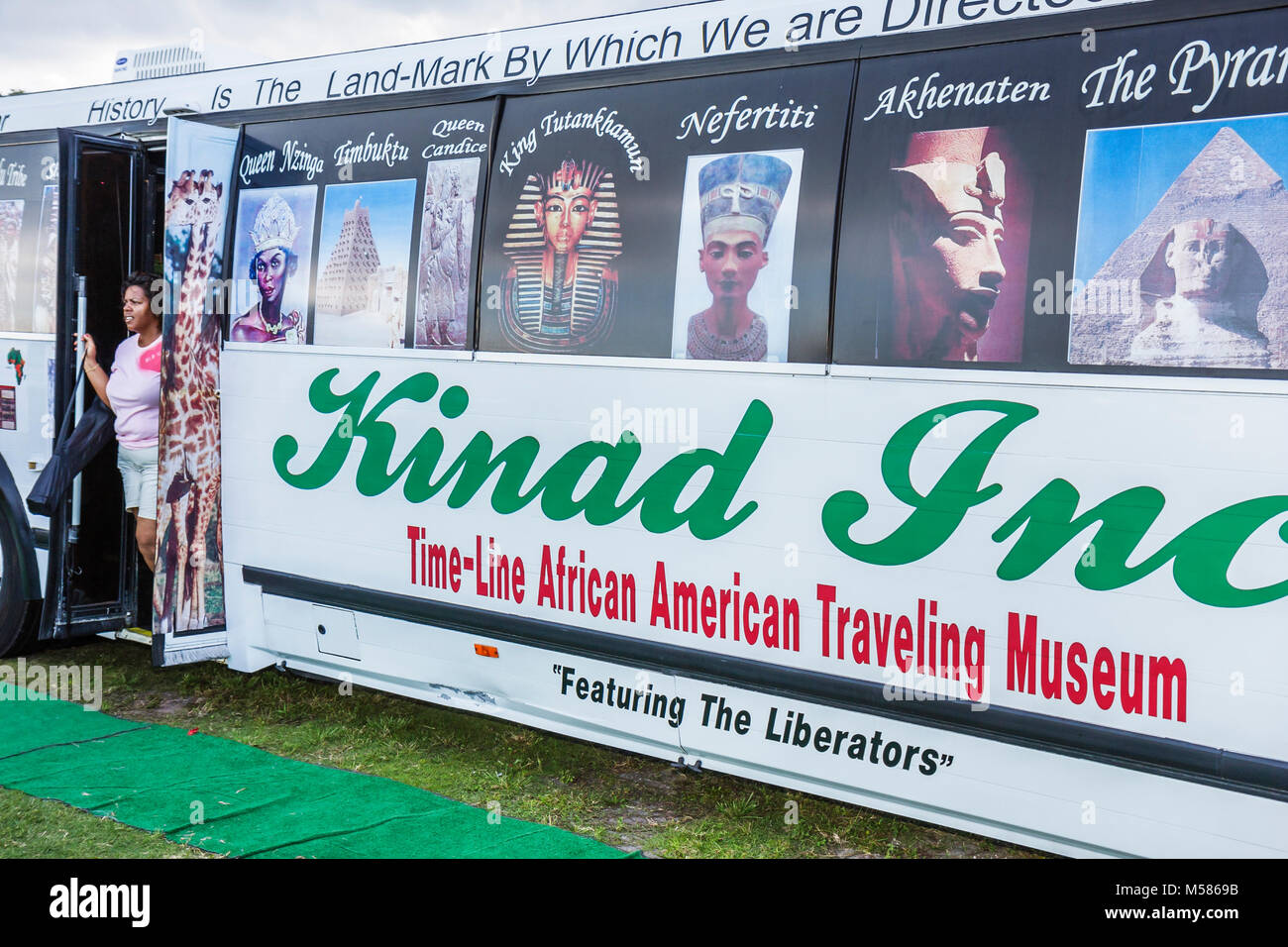 Virginia Key Beach Park Grand Re Opening Family Fest Day historic Black Time Line African American Traveling Museum - Stock Image