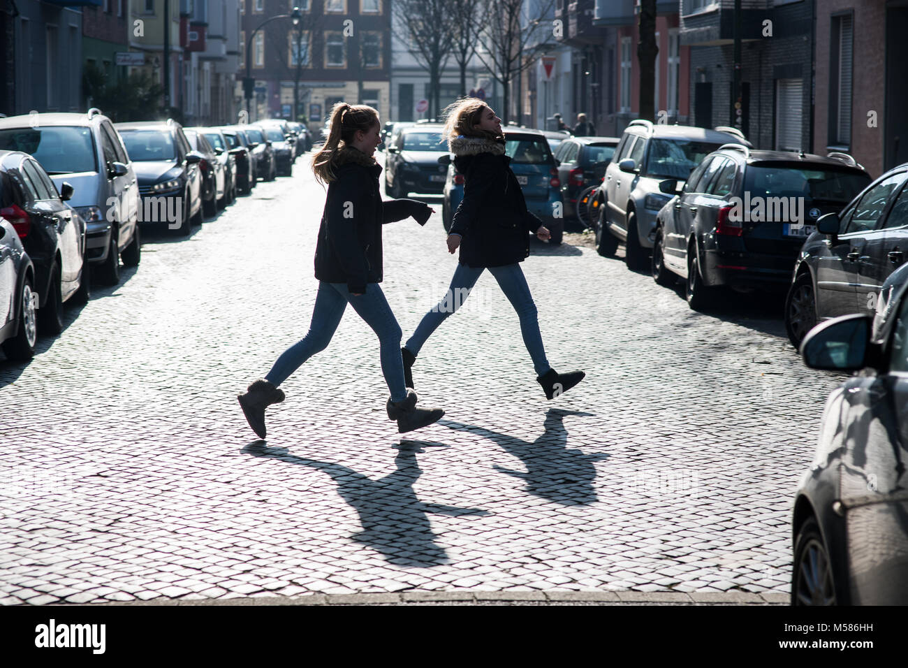 Children in the city of Düsseldorf, Germany. - Stock Image