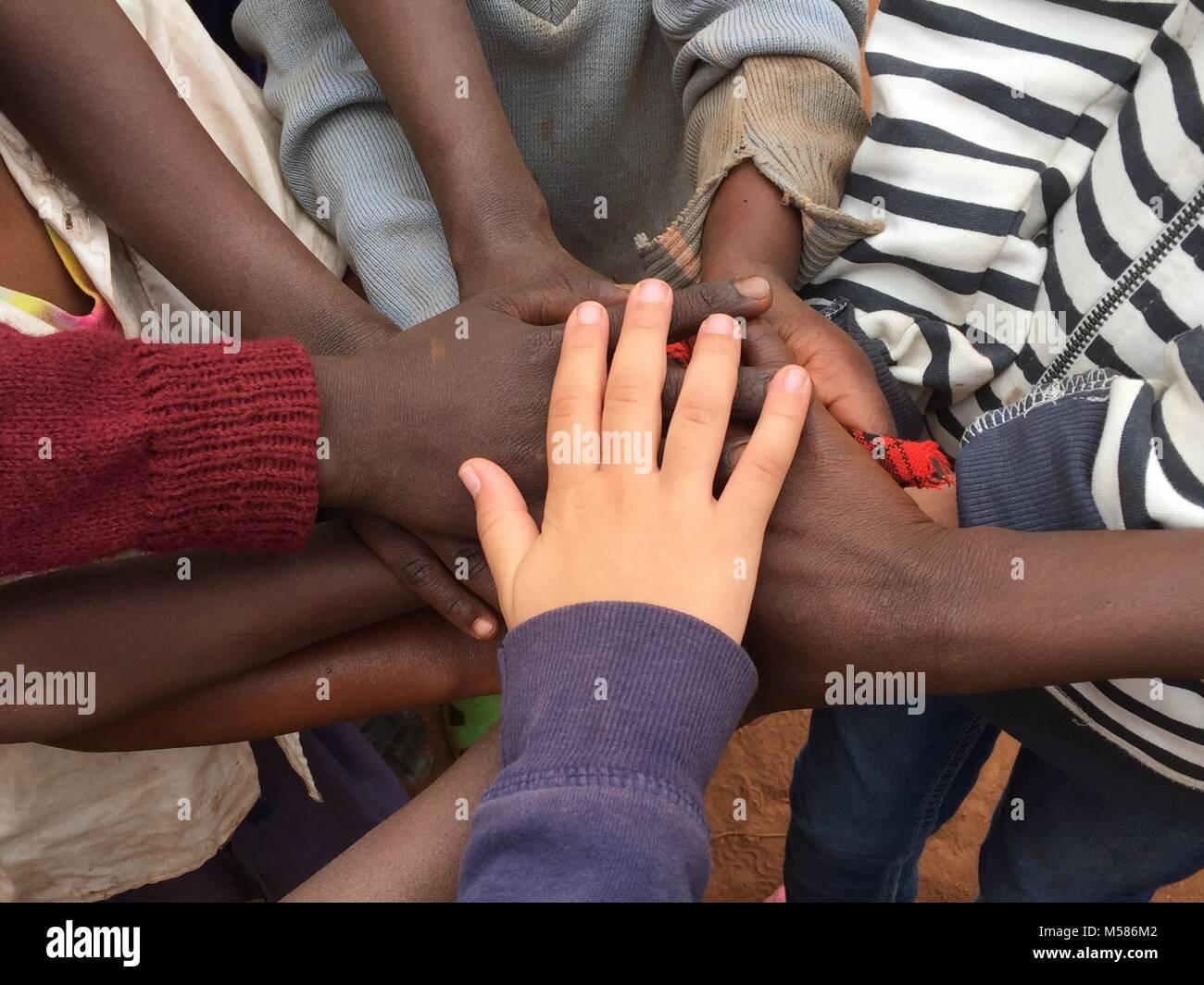 Girls handshake - Stock Image