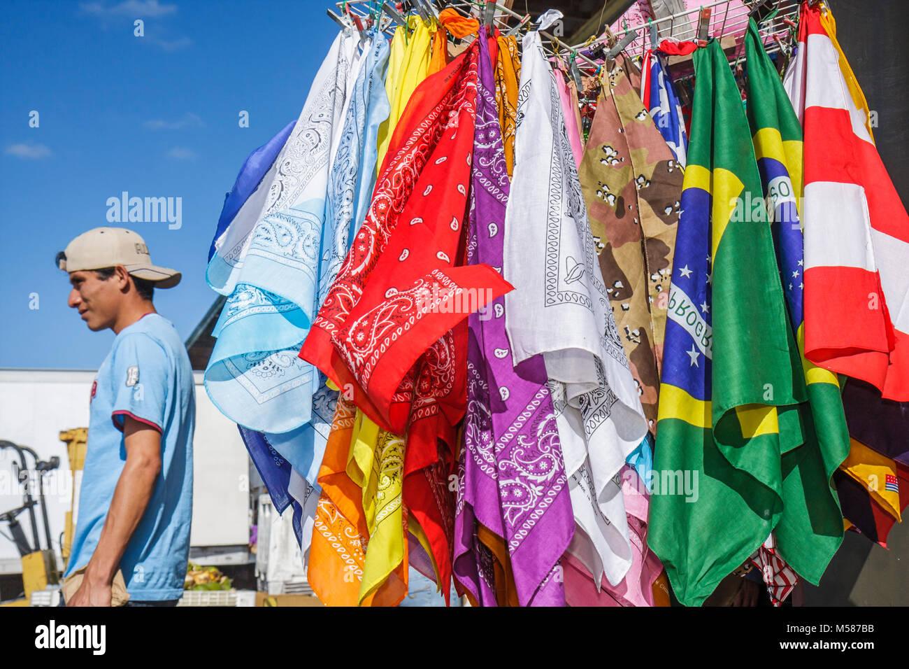 Homestead Route 1 One Farmers Market Hispanic man bandanas colorful - Stock Image