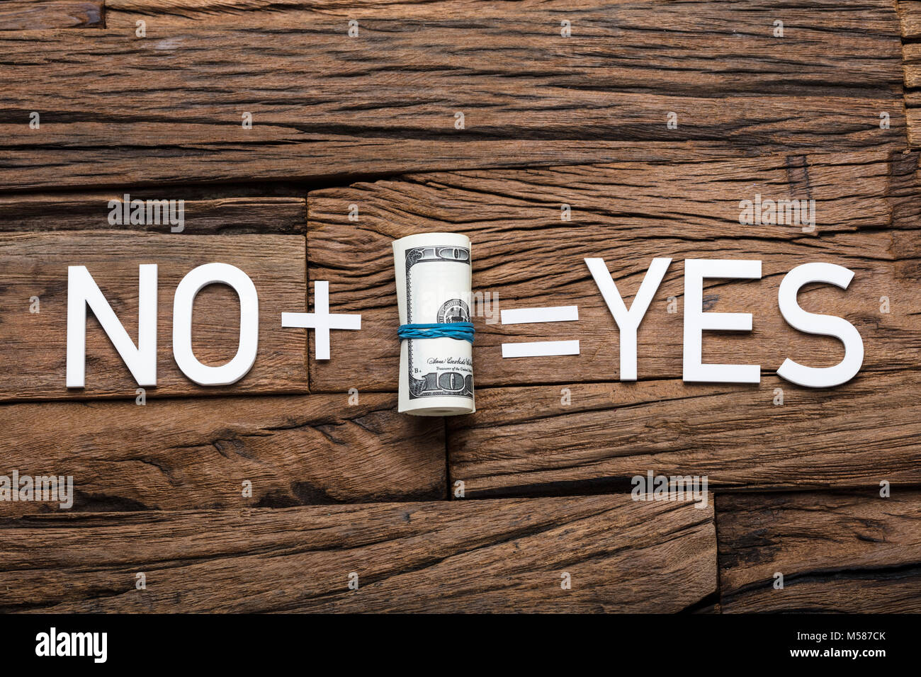 Directly above shot of no plus money equals yes sign on wooden table Stock Photo