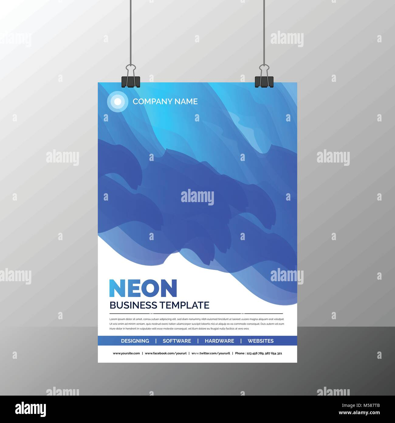 Azure Flyer Template | Abstract Neon Business Flyer Template Stock Vector Art