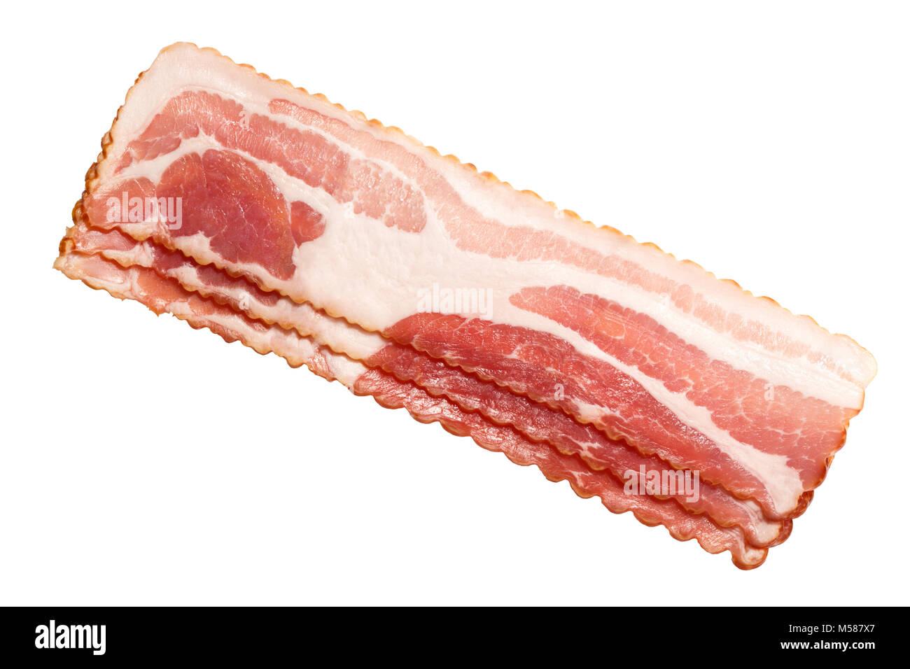 Bacon strips, uncooked, profiled. Top view, clipping path: https://goo.gl/AJeyru - Stock Image