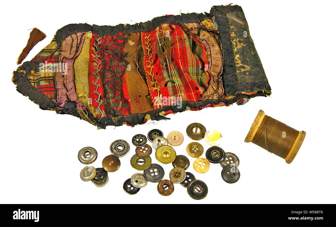 Grand Canyon National Park  Miner's Sewing Kit. RECTANGULAR SHAPED CLOTH SEWING KIT WHICH TAPERS TO A POINT - Stock Image