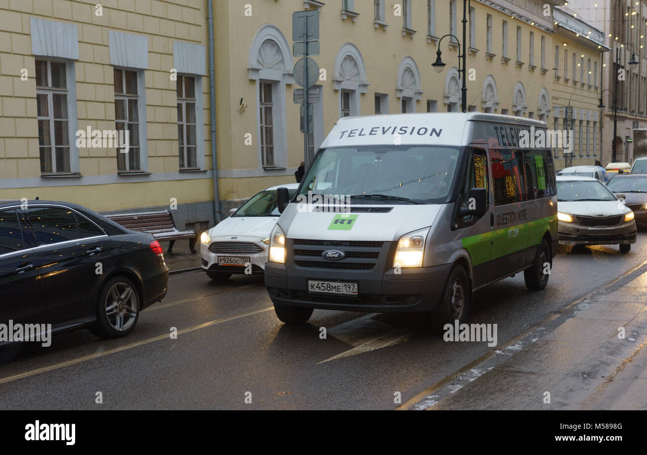 December 15 2018 Moscow Russia A Car With The Symbols Of The Tv