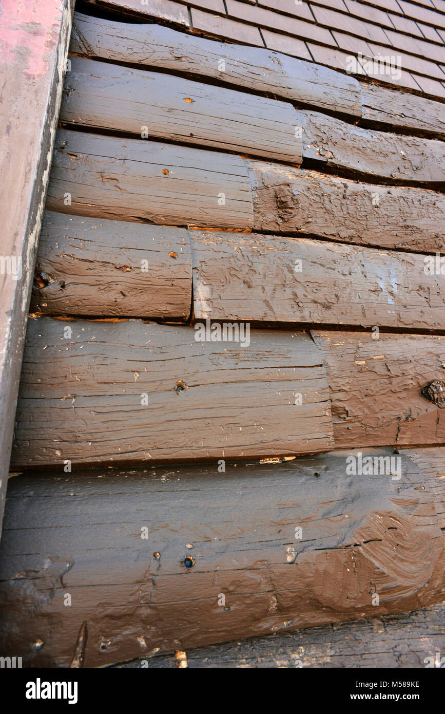 Grand Canyon Kolb Studio Renovation   (). Log siding in need of repair. In some cases the original siding is coaxed - Stock Image