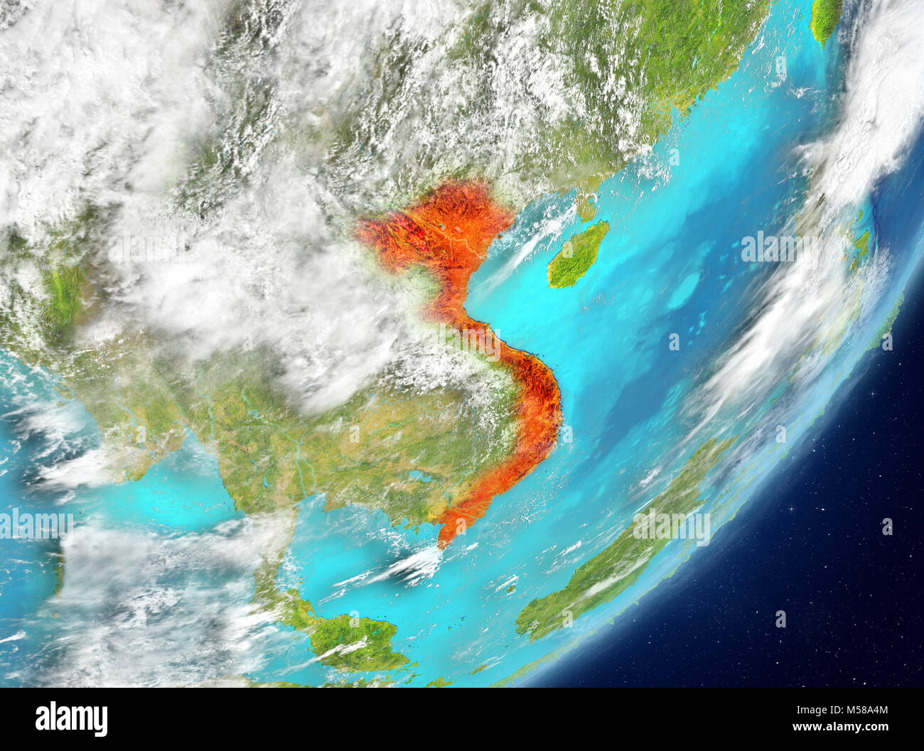 Satellite view vietnam stock photos satellite view vietnam stock satellite view of vietnam highlighted in red on planet earth with clouds 3d illustration publicscrutiny Gallery