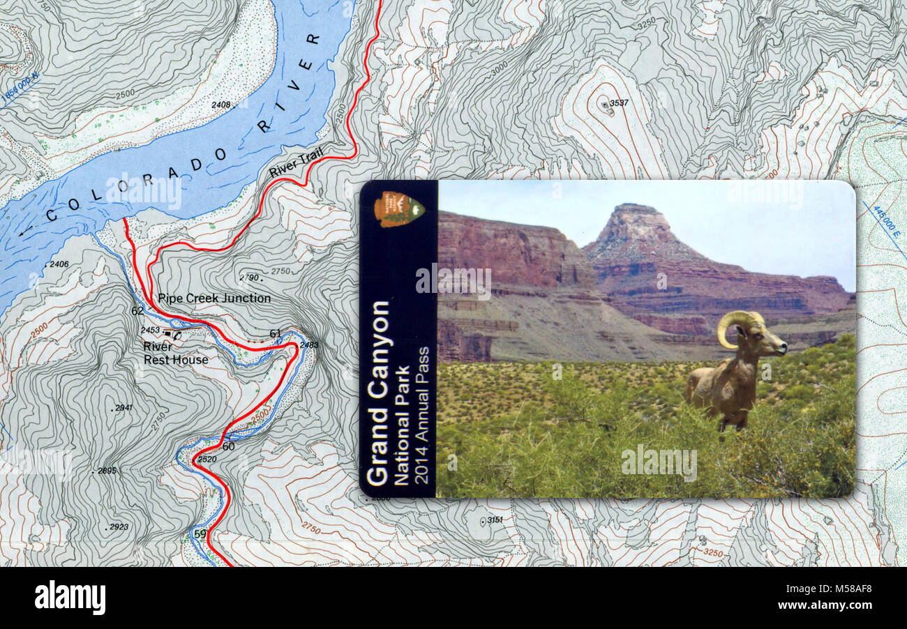 Grand Canyon National Park  Annual Pass. The pass is valid for twelve months from the date of purchase, for unlimited - Stock Image