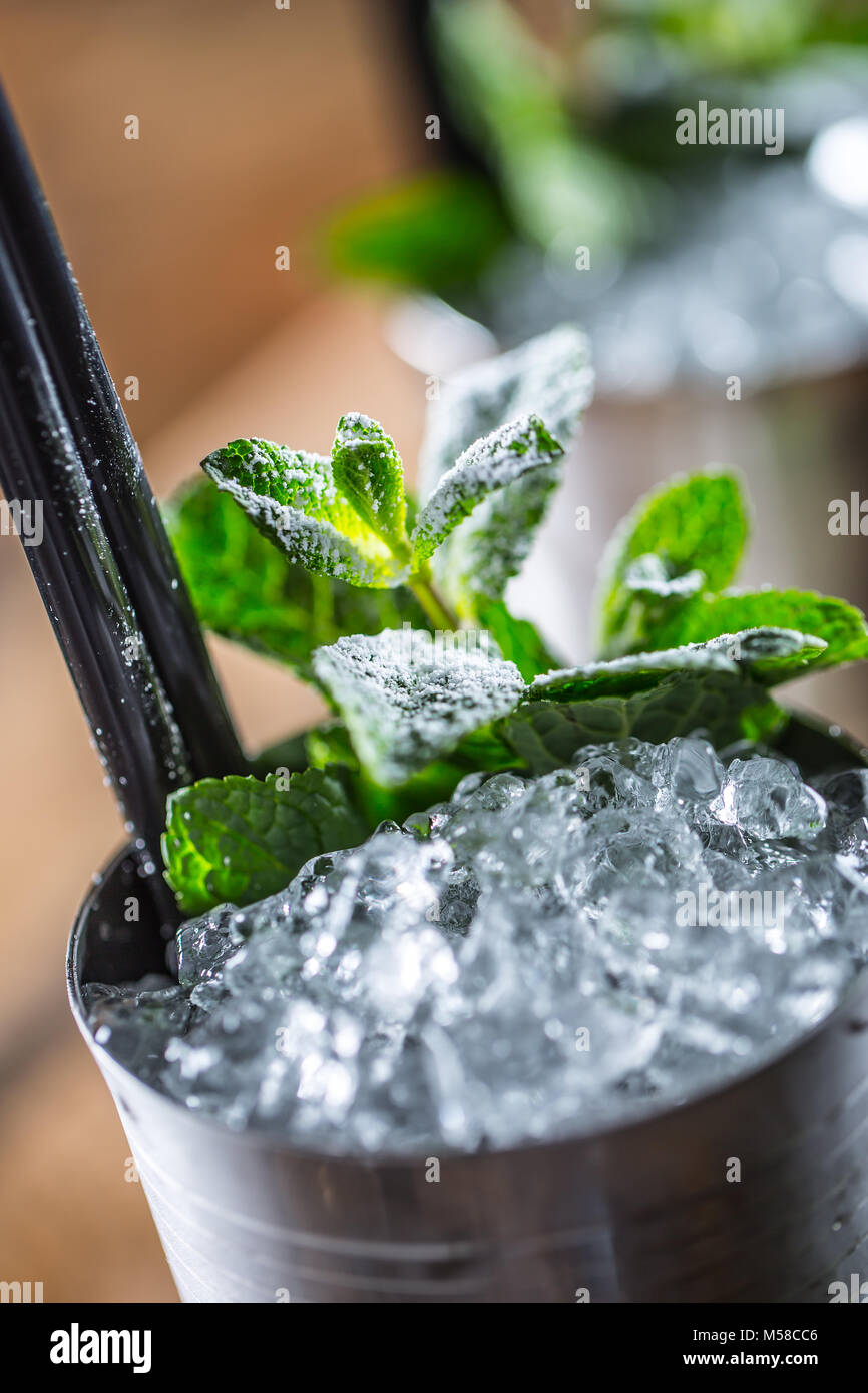 Mint julep cocktail alcoholic drink on wooden board in pub or restaurant. - Stock Image