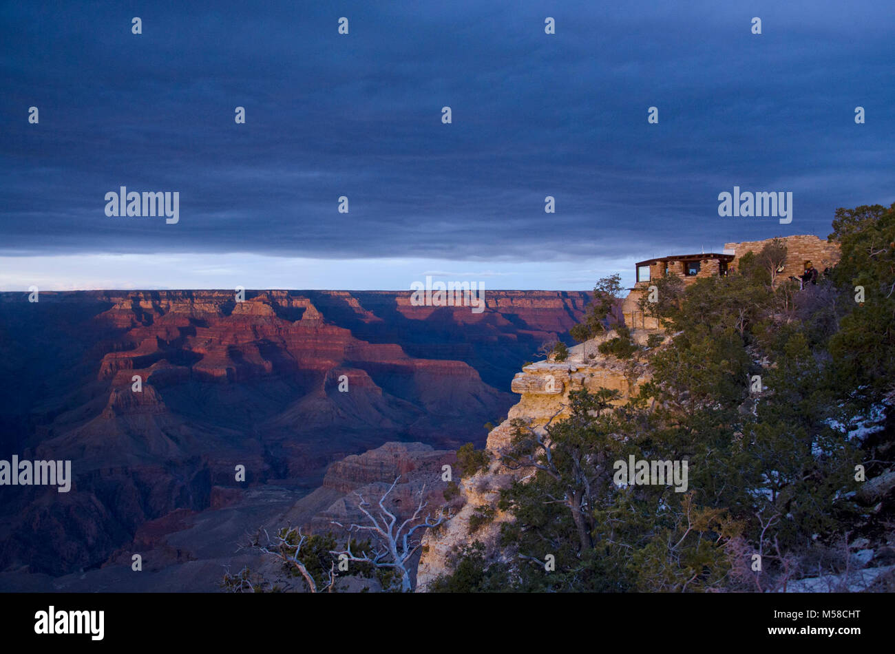 Grand Canyon National Park Yavapai Museum of Geology . Sunday, March 3, 2013 - a weak low pressure system brought - Stock Image