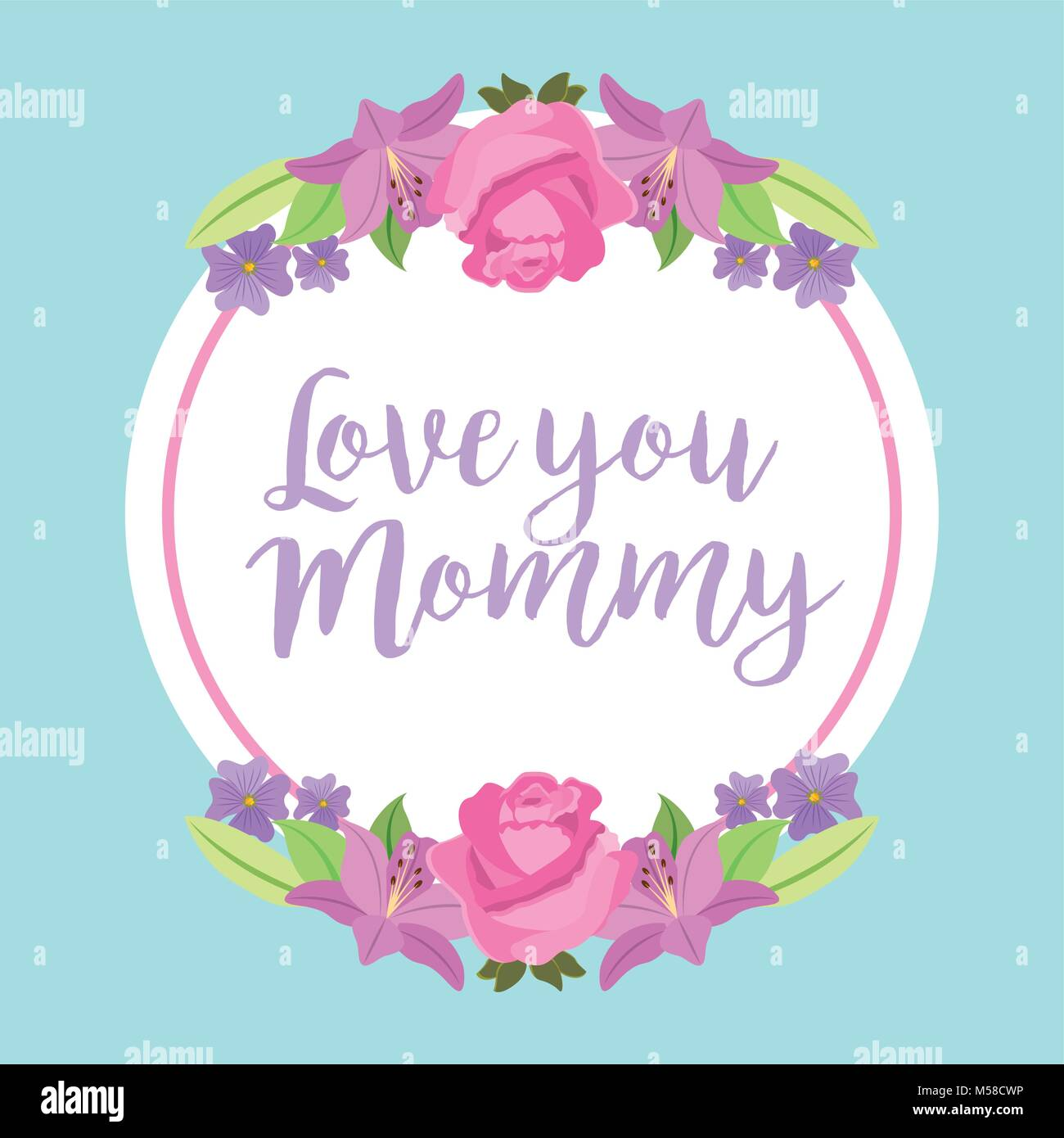 love you mommy round label roses and lilies ornament - Stock Image