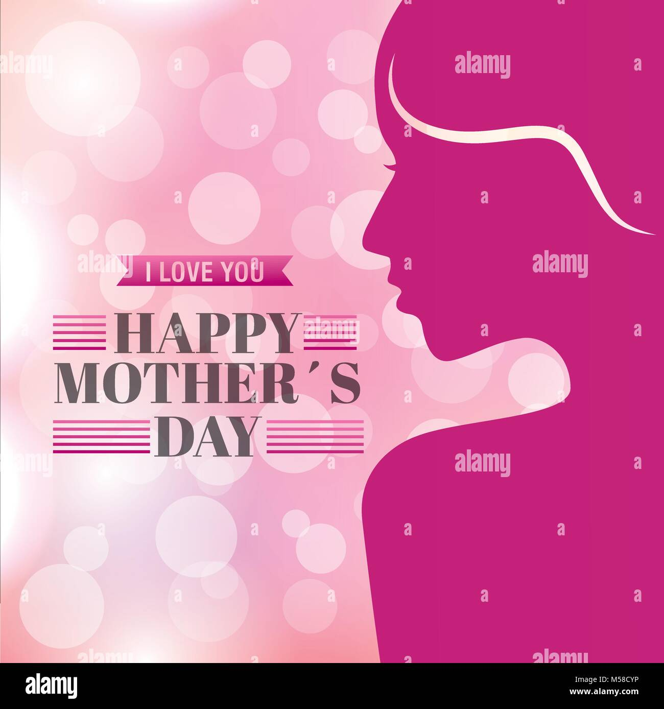 pink portrait woman happy mothers day blurred background - Stock Vector