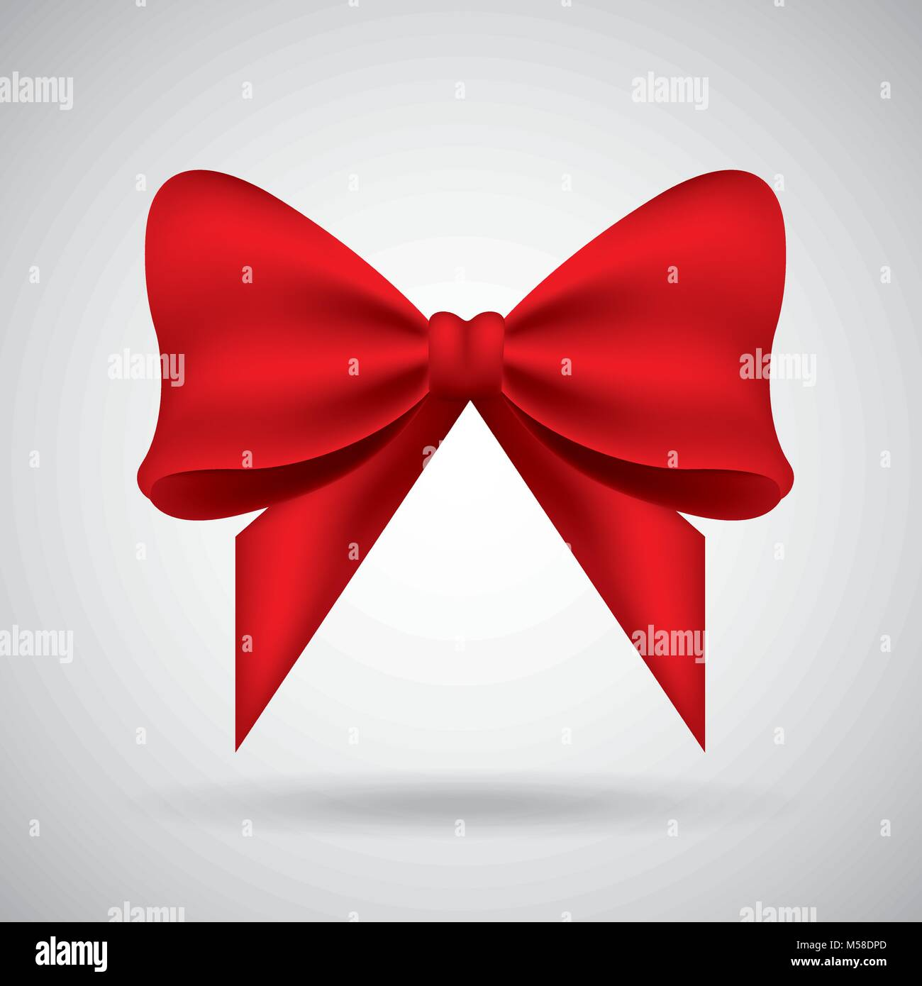 red bow ribbon tied decoration ornament - Stock Vector