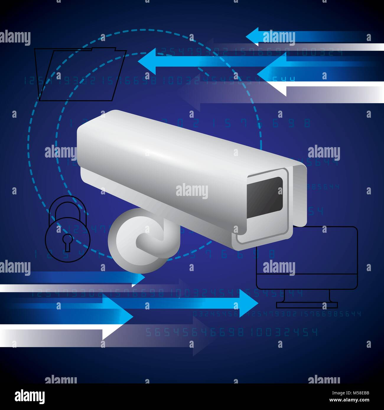 surveillance camera computer folder security technology - Stock Image