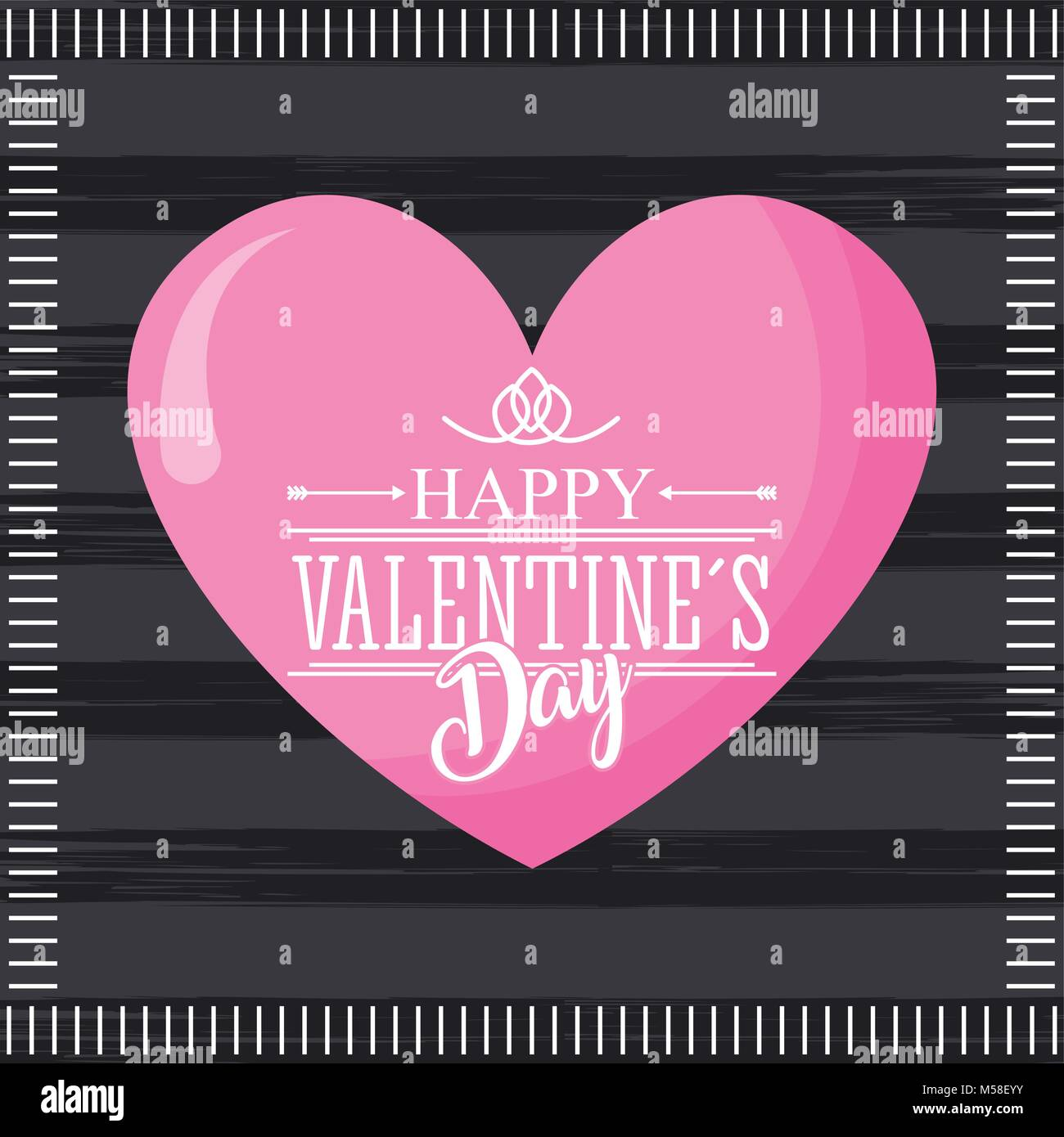 Happy Valentines Day Card Pink Cute Heart And Dark Background Stock