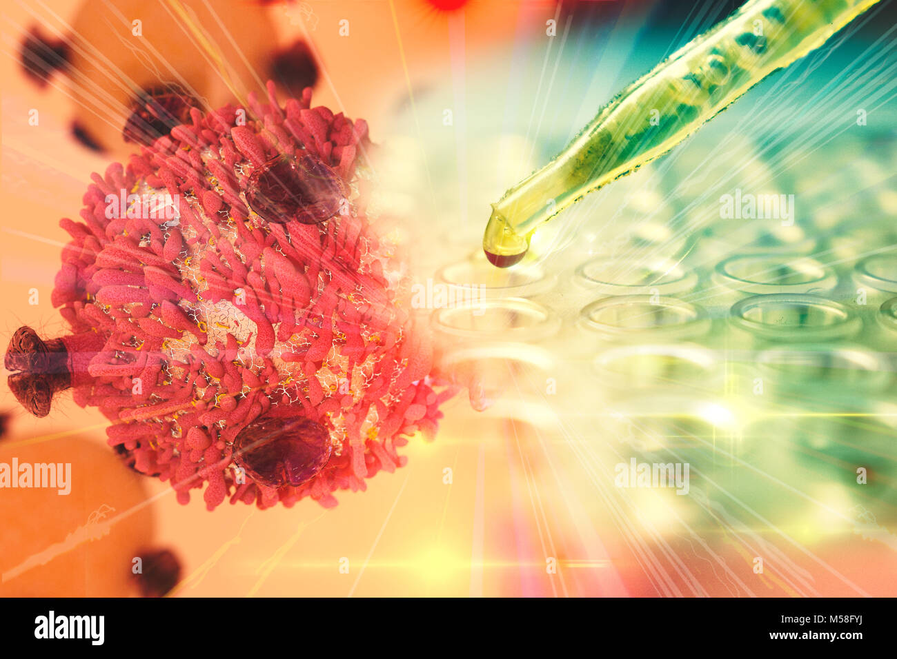 Gene Therapy for Cancer Treatment Concept Cancer therapy with T-cell and pipette - Stock Image