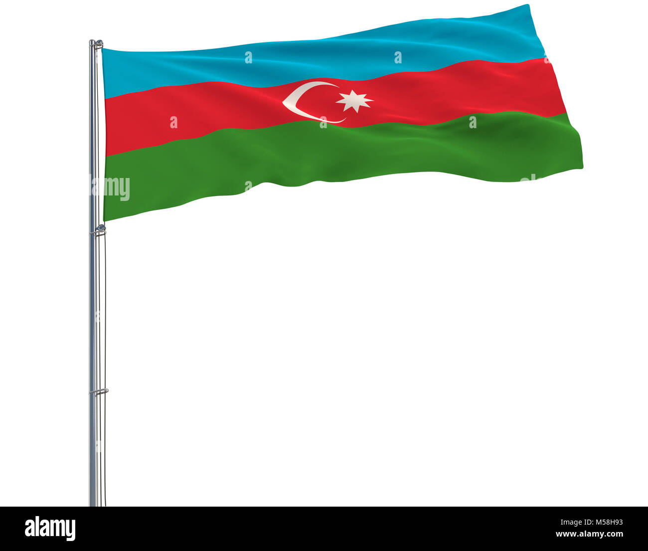 Flag of Azerbaijan on the flagpole fluttering in the wind on white background, 3d rendering - Stock Image