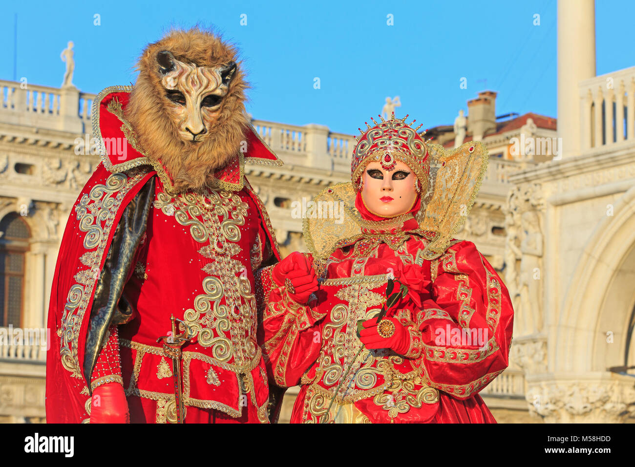 The Beauty and the Beast during the Carnival of Venice (Carnevale di Venezia) in Venice, Italy - Stock Image