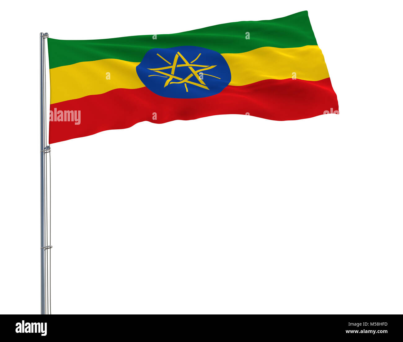 Flag of Ethiopia on the flagpole fluttering in the wind on a white background, 3d rendering - Stock Image