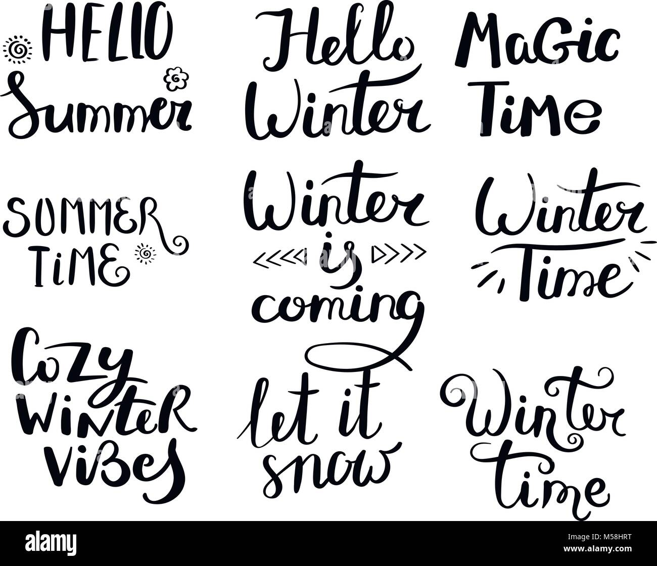 Season greetings set of hand drawn vector lettering phrases modern season greetings set of hand drawn vector lettering phrases modern motivating calligraphy decor for wall poster prints cards t shirts and other m4hsunfo