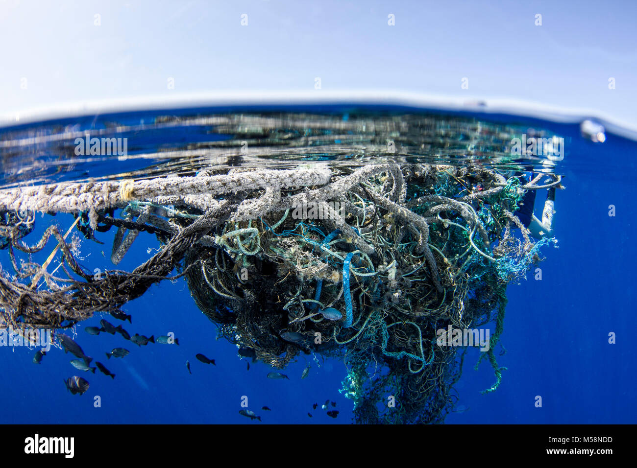 Currents accumulate marine debris in areas around the global ocean. Stock Photo