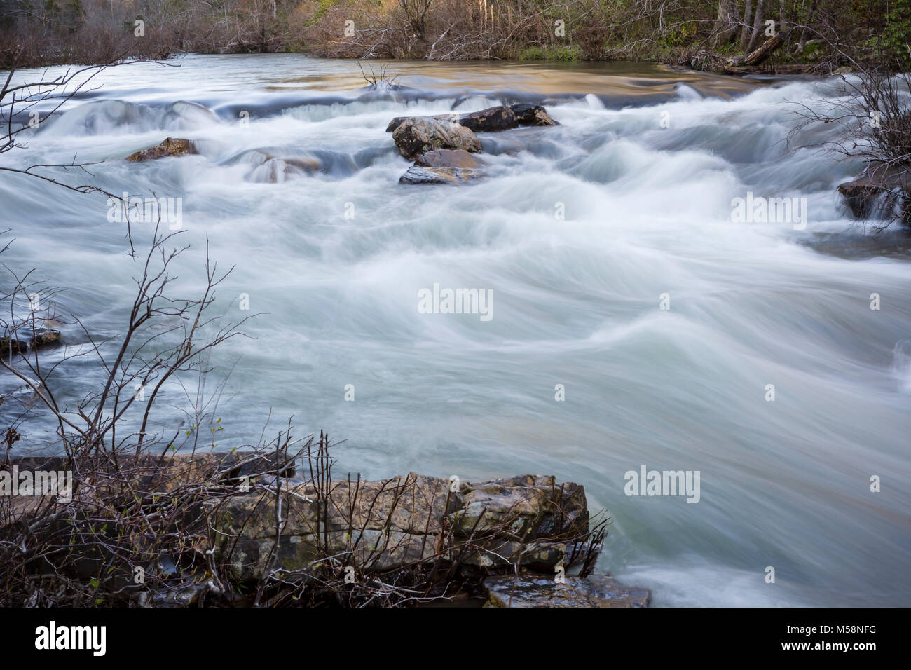 Rapids on Little River in Little River Canyon National Preserve, Alabama Stock Photo