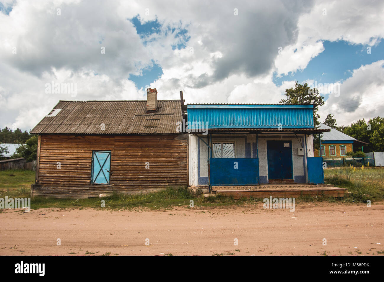 Village shop in typical Russian countryside at summer - Stock Image