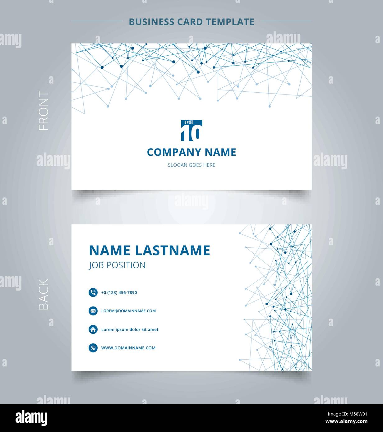 Creative Business Card And Name Template Technology Blue Mesh With Dots On White Background Techno Design Of Future Digital Data Abstract Conc