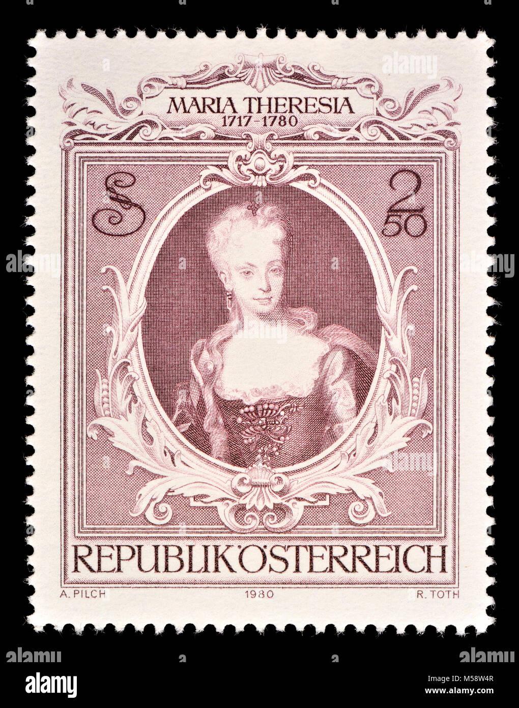 Austrian postage stamp (1980) : Maria Theresia (Maria Theresa Walburga Amalia Christina: 1717 – 1780)  the only - Stock Image