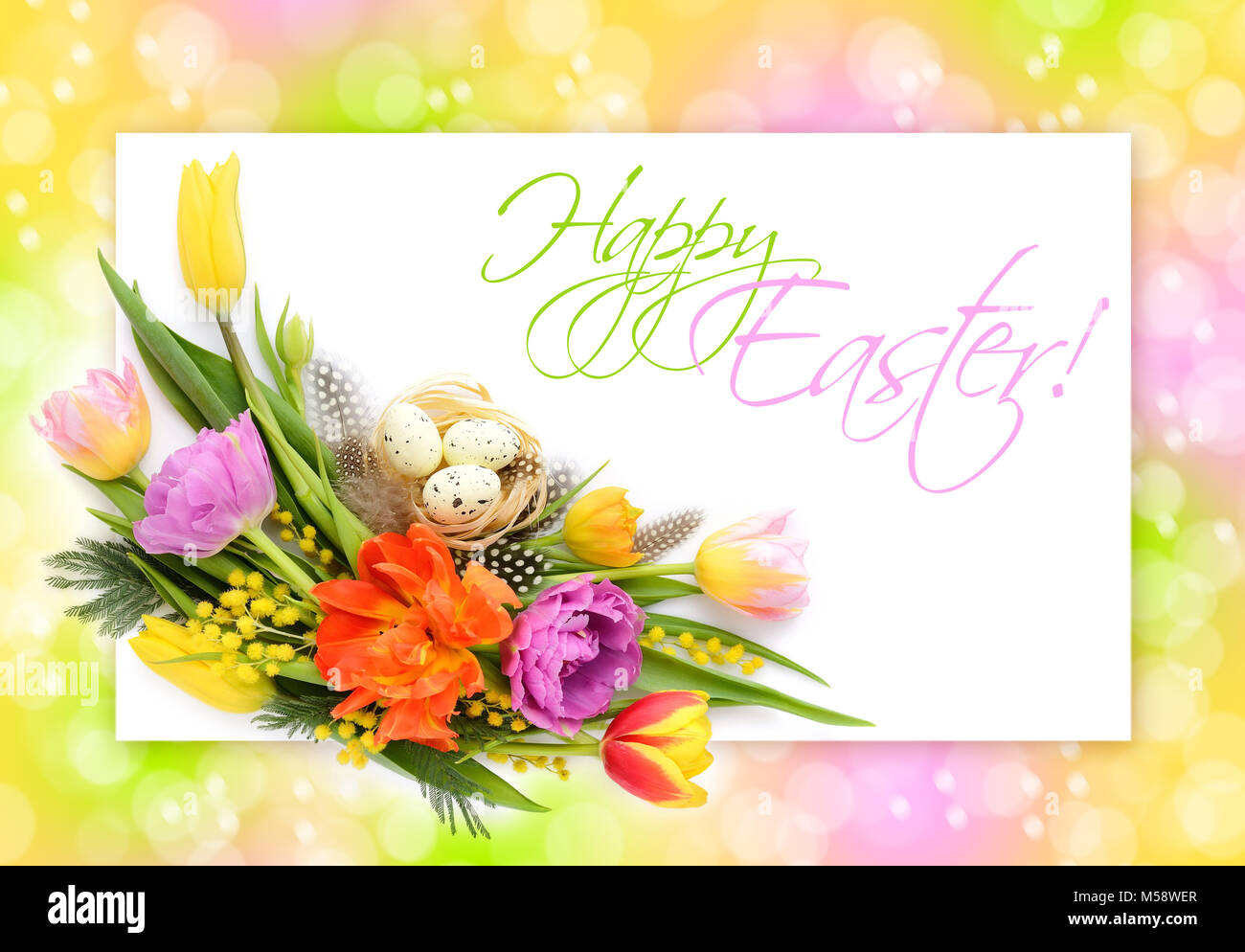 Cute flower frame decorative background stock photos cute flower cute easter greeting card with flowers easter eggs on nest on festive background stock m4hsunfo