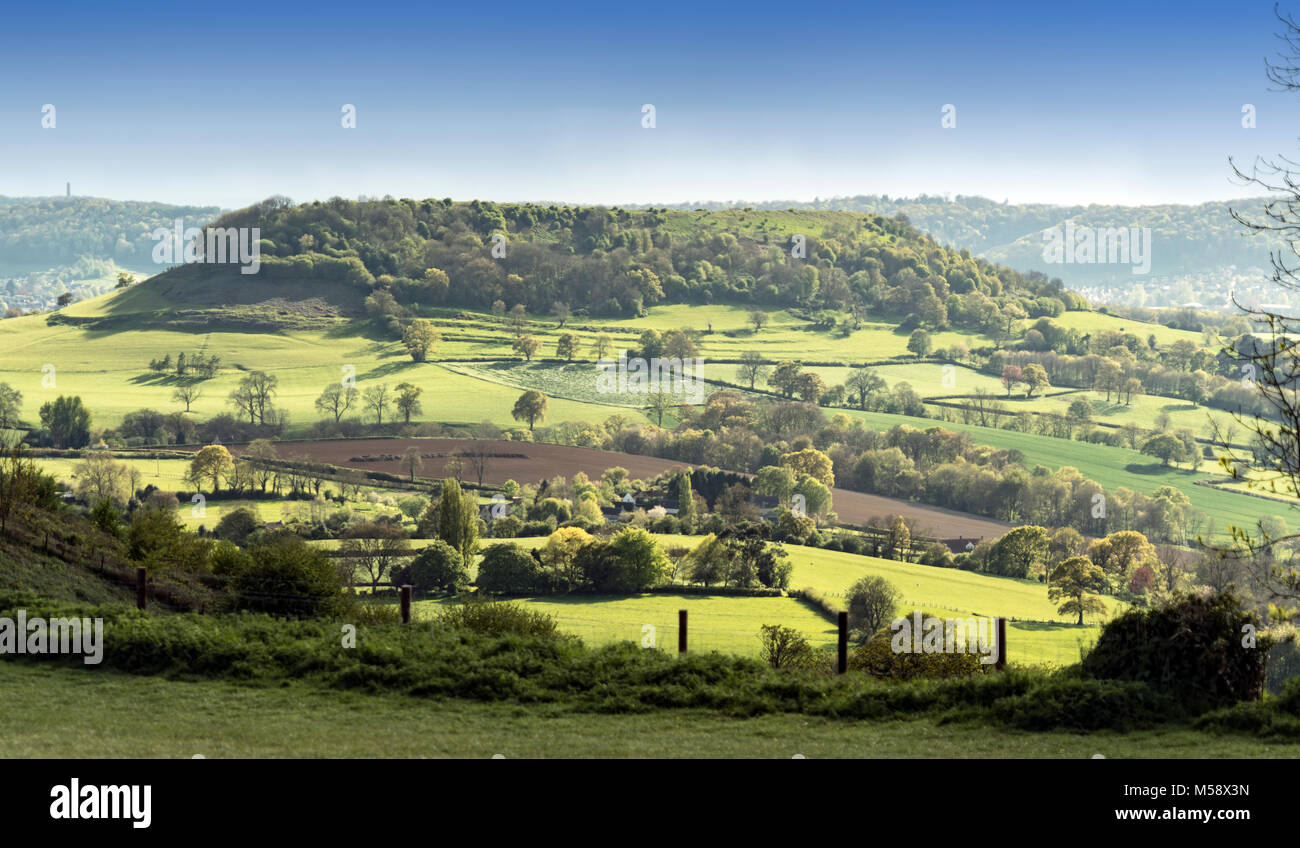 View of Cam Long Down from Coaley Peak, Cotswolds, Gloucestershire, UK - Stock Image