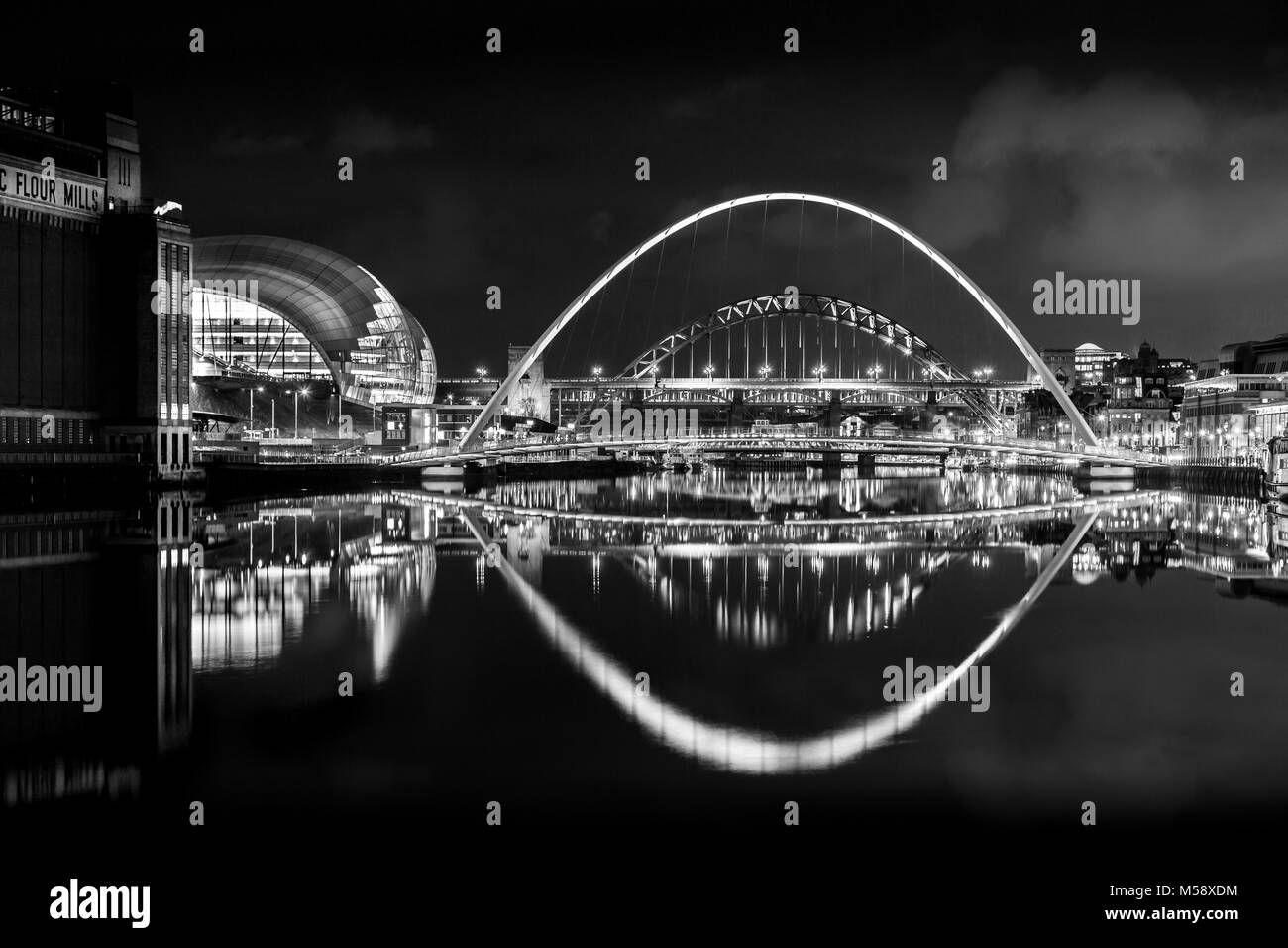 Newcastle upon tyne quayside at night stock image