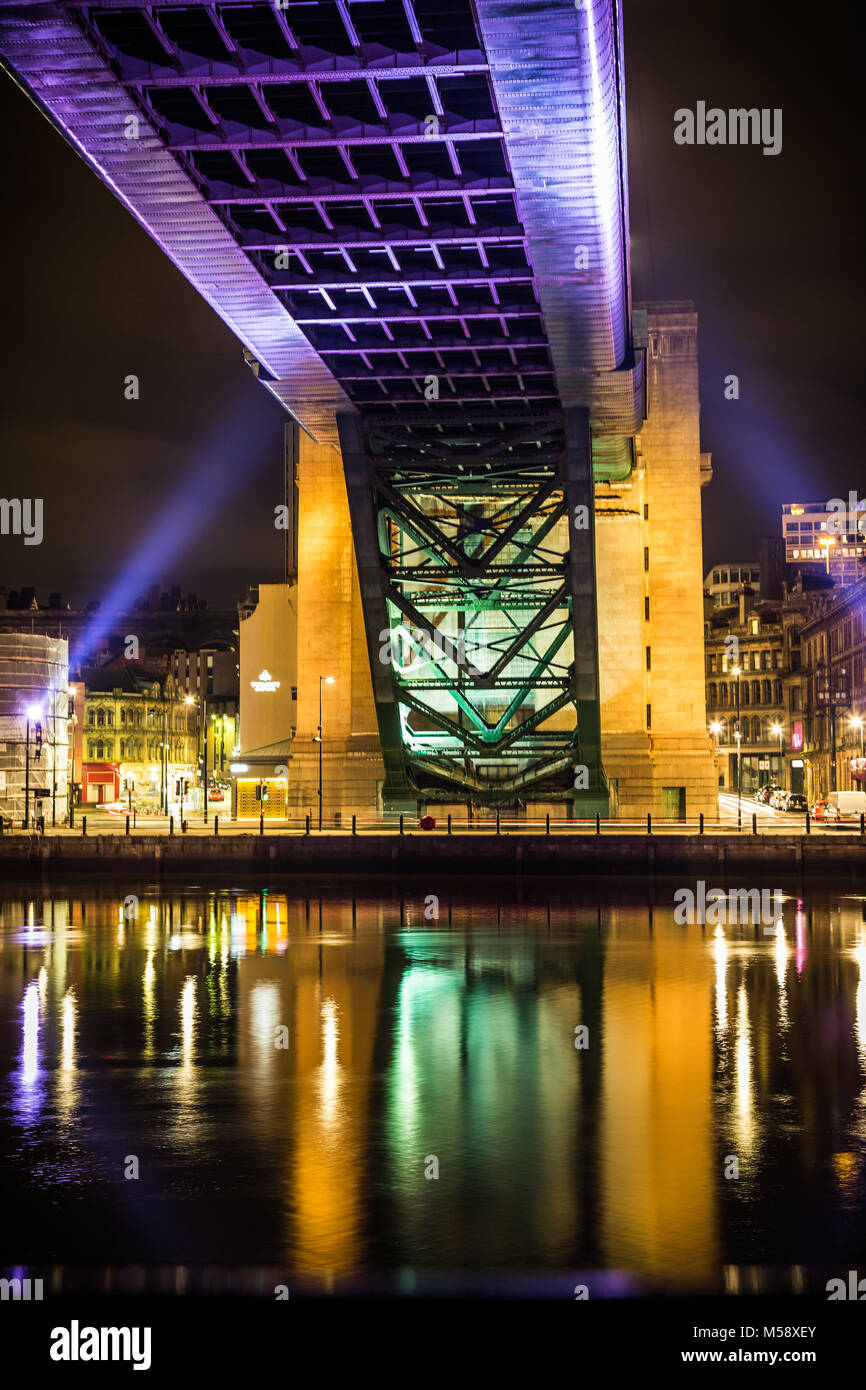 Newcastle upon Tyne Quayside at night. - Stock Image