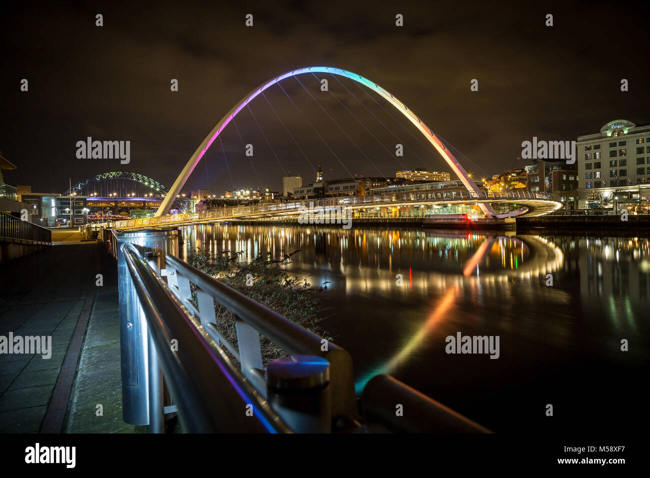 Newcastle upon Tyne Quayside at night. Stock Photo