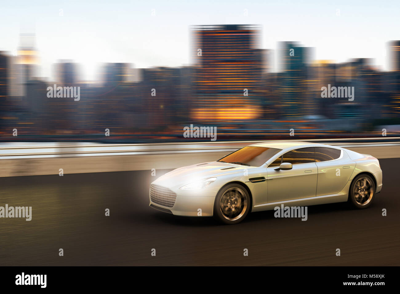 3D rendering of a luxury car in motion in front of Manhattan skyline, New York City, New York, USA - Stock Image