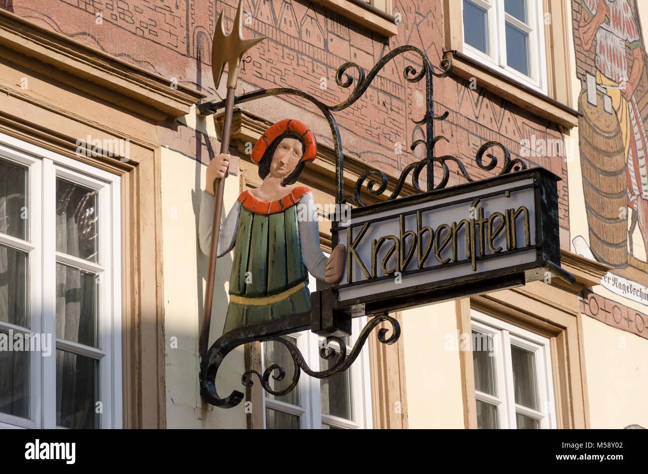 Eberbach am Neckar, Gasthaus 'Krabbenstein', Baden-Württemberg, Deutschland - Stock Image