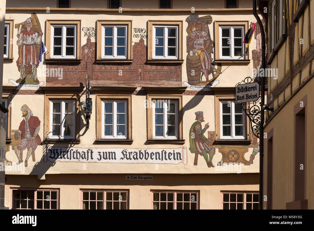 Eberbach, Hotel 'Karpfen' am Alten Markt, Odenwald, Baden-Württemberg, Deutschland - Stock Image