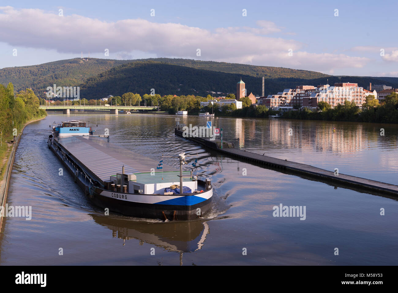 Stauwehr Wieblingen, Heidelberg, Baden-Württemberg, Deutschland, Europa - Stock Image