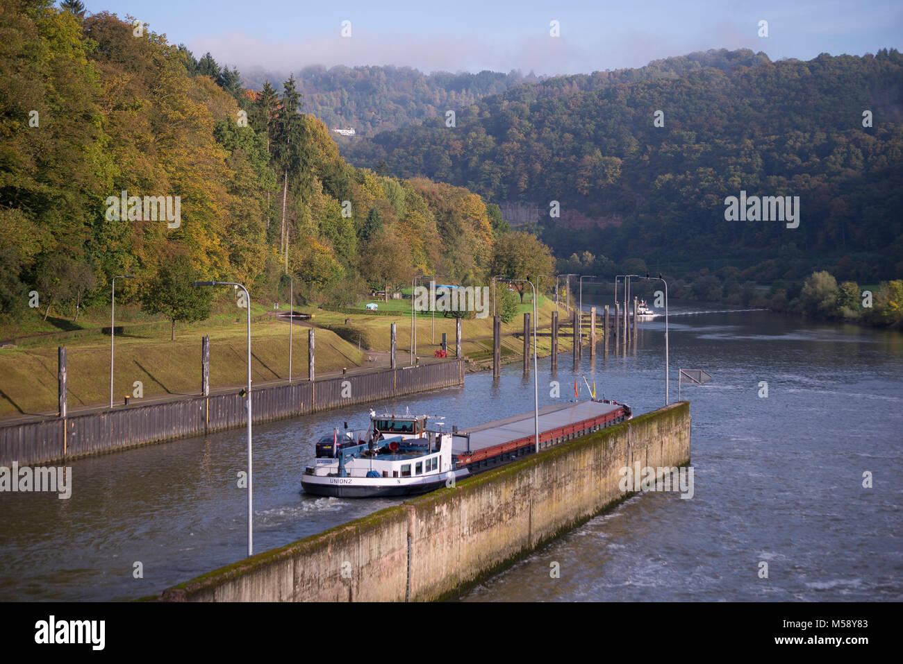 Neckar bei Eberbach, Baden-Württemberg, Deutschland - Stock Image